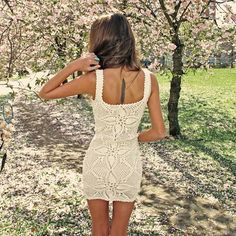 crochet white bodycon dress