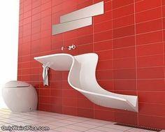 Unusual sink, home, bathroom, unique, different, red, decorating