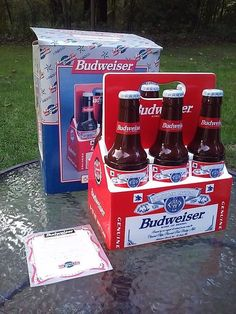 Budweiser Beer Bottle 6 Pack Candy/Cookie Jar Enesco 1998 W/ Box & Certificate