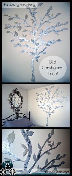 Cork board Tree Tutorial / Pair/Pear Tree in Classroom or to display artwork www.mandyfyhrie.com