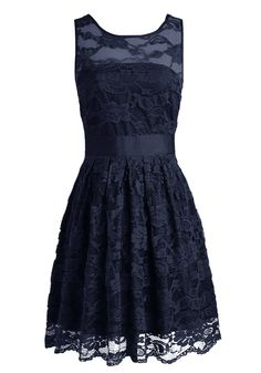 Wedtrend Floral Lace Dress Bridesmaid Dress Short Homecoming Dress Size 16 Navy