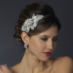 -Ivory Ivory Side Accented Crystal Flower Headband HP 946