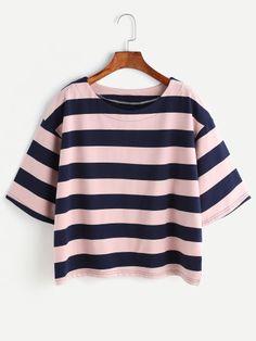 Camiseta de rayas con hombro caído