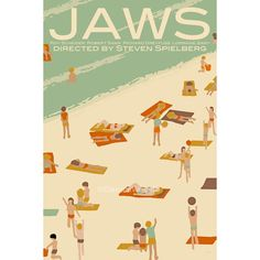 Movie poster Jaws 12x18 inches retro print by ClaudiaVarosio, £12.00