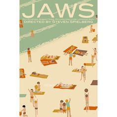 Movie poster Jaws 12x18 inches retro print by ClaudiaVarosio, £12.00