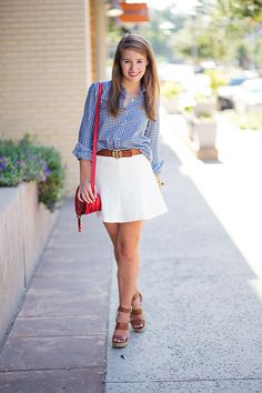 Blue gingham button -up | white skater skirt | red white and blue outfit | preppy style | summer fashion |