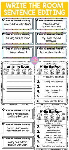 This write the room activity will keep your students active and engaged, while they walk around the classroom, reading and rewriting simple sentences, editing them for errors in grammar, spelling, and punctuation. This is also a prime time to have them practice writing neatly. There are 5 different write the room activities and they come in color and black and white. Each game has 6 sentences to edit.