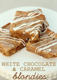 White Chocolate and Caramel Blondies. Recipe on { http://lilluna.com }