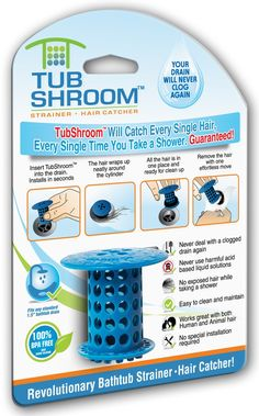 Amazon.com: TubShroom The Revolutionary Shower Tub Drain Protector Hair Catcher/Strainer/Snare, Blue: Home & Kitchen