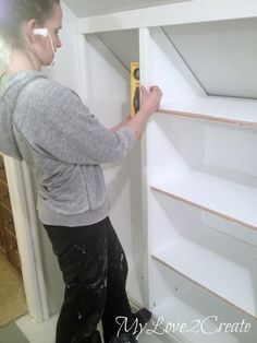 How To Create Slanted Wall Built Ins With Hidden Storage, Picture Tutorial  At