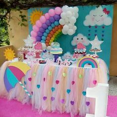 Rain of love party: the decoration for this birthday - Fashion Parties - Rain of love party: the decoration for this birthday – Fashion Parties - Rainbow Parties, Rainbow Birthday Party, Unicorn Birthday Parties, Baby Birthday, Girl Birthday Themes, Birthday Party Decorations, Baby Shower Decorations, Cloud Party, Gateau Baby Shower