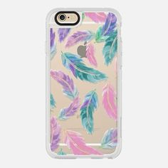 Pastel pink turquoise watercolor feathers pattern  by Girly Trend