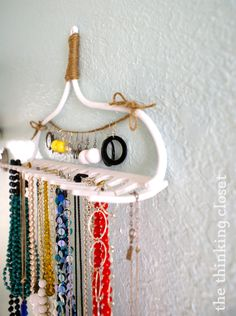 DIY Rake Necklace Hanger – the thinking closet – Pants Hanger İdeas Dyi, Easy Diy, Bedroom Organization Diy, Organization Ideas, Necklace Hanger, Glass Necklace, Hanging Shoe Organizer, Gifts For Hubby, How To Make Scarf
