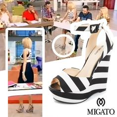 "Sasa Stamati on ""TO PRO1NO"" on ANT1 TV wearing MIGATO SS2014 collection black and white platforms with stripes, product code GZ4210."