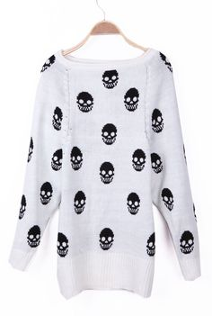 White Skull Pattern Reglan Sleeve Boat Neck Sweater