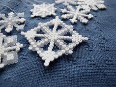 DIY hama beads snowflakes