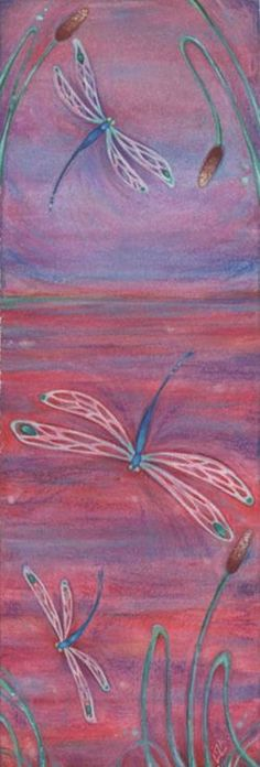 ARTFINDER: Red Dragonflies watercolor painting by Liza Paizis - • This elegantly expressive painting has 3 dragonflies floating amidst a lake of red and lilac colors. • It is inspired by the gorgeous Blue Dasher dragonfl...