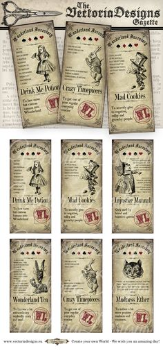 Alice in Wonderland Tea Party Tickets printable by VectoriaDesigns