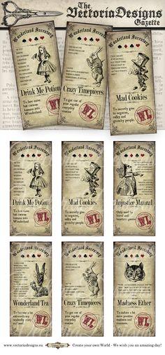 Alice in Wonderland Tea Party Tickets printable by VectoriaDesigns