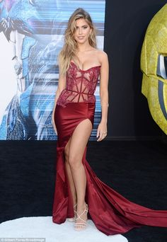 Lingerie inspired: Model Kara Del Toro went for a slinky sexy red look ...