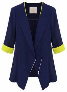 Navy Lapel Half Sleeve Zipper Blazer pictures Blazer Suit, Casual Blazer,  Cropped Blazer, 15c98833d6ab