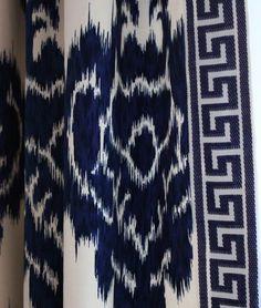 ikat and greek key by amy meier design Window Coverings, Window Treatments, Ikat Fabric, Ikat Curtains, Drapery Fabric, Textiles, Passementerie, Greek Key, Fabric Wallpaper