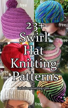 Knitting patterns for Swirl and Spiral Hats. Most patterns are free