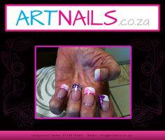 Acrylic nail art creation using white tips and pink and purple glitter and pink nail polish Acrylic Nail Art, Glitter Nail Art, Purple Glitter, Pink Nail Polish, Pink Nails, Tips, Light Pink Nail Polish, Acrylics, Pink Nail