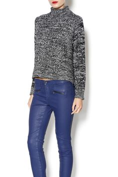 Turtleneck grey speckled long sleeve sweater with hi-low hem.   Stacey Sweater by 525 America. Clothing - Tops - Long Sleeve Clothing - Tops - Casual Florida