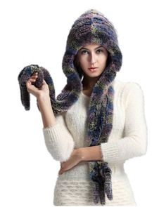 H454- cap with natural Rex rabbit  ,female winter thickening ear protector warm  casual new style fur hat and scarf