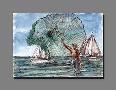 Gulf Coast Living Original ACEO Watercolor Ink Marine Art Painting Cast Net BRJ #Miniature