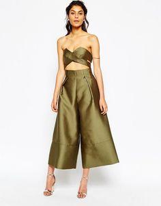 Solace London @ ASOS Tailored Wrap Over Crop Top Wide Leg Culotte Jumpsuit UK 8