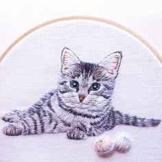 Embroidery Drawing Cat & #Temariball ねこと手まり。 良い週末を♪