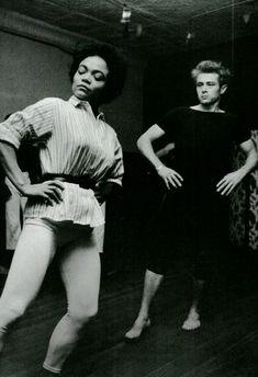 "NYC. Eartha Kitt & James Dean, early 1950s. Dean studied dance with Kitt in New York City. Eartha said: ""[James Dean] said to me, 'I want to move like you, can you teach me how to move my body like you do on stage?' And I told him where to meet me, here in New York and that's where we met for dance classes. And that's where Jamie and I always met downstairs from that studio to have coffee, to have our little tete-a-tete conversations."""