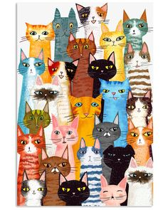 Cats Multi shirts, apparel, posters are available at TeelalandClothingCoGraphicTees&Poster. Cat Colors, Easy Paintings, Indian Paintings, Abstract Paintings, Cat Drawing, Cat Shirts, Cat Art, Cute Cats, Funny Cats