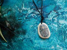 Handpainted pebble star field pendant necklace: wearable art: stone jewellery | eBay
