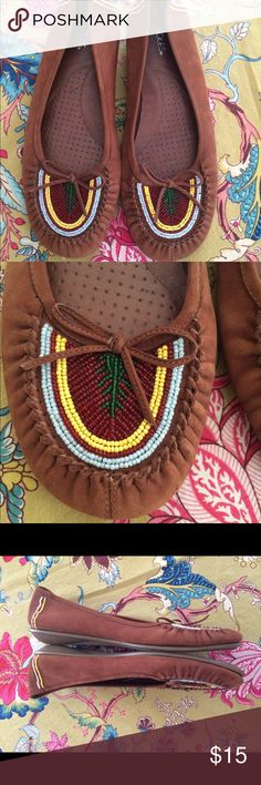 """Leather Beaded Moccasins Very Comfy Beaded soft brown leather moccasins by Aerosoles. Size 10. Worn a handful of times. Nice quality. No missing beadwork. Inside stamped """"10B Cozy Cozy/Leather Upper/Balance/ManMade. Scuff mark on front of left moc. Thanks for looking! AEROSOLES Shoes Moccasins"""