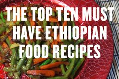 Ethiopian food is just superb and yet little known really. Below we have set out our top ten must have Ethio dishes with of course a cooking video to show you how it is all done. Now choosing ten dishes was really hard for us as there are just so many ama Middle East Food, Middle Eastern Recipes, Veggie Recipes, Vegetarian Recipes, Healthy Recipes, Ethiopian Cuisine, Ethiopian Recipes, Ethiopian Bread, Traditional Jamaican Food