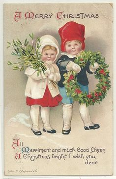 Embossed Christmas Postcard Artist Signed Ellen Clapsaddle Children