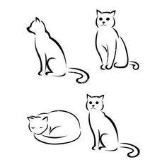 Cute cat outlines tattoo designs for women. Fine Line Tattoos, Body Art Tattoos, Girl Tattoos, Small Tattoos, Cat Tattoo Designs, Tattoo Designs For Women, Cat Doodle, Doodle Art, Cat Outline Tattoo