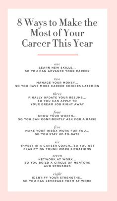 8 Ways to Make the Most of Your Career This Year. Consider this list a jetpack for your career—and salary. Consider this list a jetpack for your career—and salary. Career Choices, Job Career, Career Planning, Career Success, Career Goals, Career Advice, Career Change, Career Quiz, Dream Career