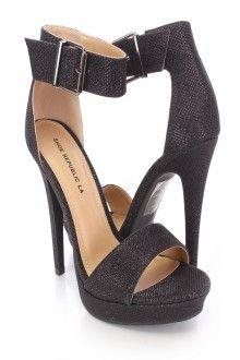 Black Open Toe Ankle Strap High Heels Glitter