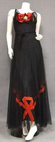 Incredible Black Tulle & Red Velvet 1930's Evening Gown