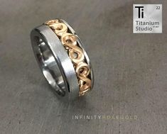 Titanium base ring with rose gold infinity inlay. The infinity symbols are attached end to end to form a full eternity design. Infinity Symbol, Titanium Rings, Eternity Ring, Wedding Bands, Gold Rings, Rings For Men, Rose Gold, Base, Symbols