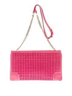 CHRISTIAN LOUBOUTIN 'Loubiposh' Pink Studded Spiked Shoulder Chain Clutch Bag