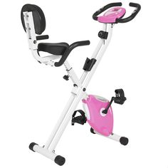 """Best Choice Products Pink Folding Adjustable Magnetic Upright Exercise Bike Fitness Upgraded Machine. Folding frame saves space and provides easy storage. Contains a padded seat and padded back support, as well as nonskid pedal with straps to provide the most efficient workout. LCD Monitor Display tracks your time, distance, speed, and calories burned. 8 level resistance knob that intensifies a workout as the intensity is raised. Overall dimensions: 37""""(L) x 24.5""""(W) x 38""""(H)."""