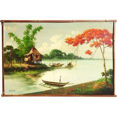 Filipino Art tropical landscape painting dated 1968  signed R.P. Pasno ~ #Art #Blog for #Philippine #ContemporaryArt and the #FilipinoArtist #Artworks #ArtPH #FilipinoArt www.jennysserendipity.com
