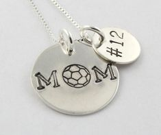 Sports Mom Necklace - Custom Hand Stamped Necklace - Sterling Silver Mother Necklace - Soccer, Volleyball, Baseball, Basketball