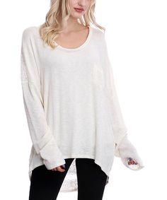Loving this White Lace-Trim Cutout Hi-Low Tee on #zulily! #zulilyfinds