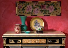 Black lacquered China chest of drawers Louis XV